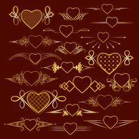 Uppsättning av dividers med hjärtans bild. Vektor