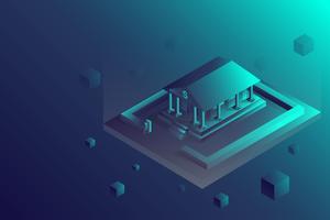 Isometrisk bankbyggnad och ekonomiskt koncept. Futuristisk 3d Bank med låda isolerad på bakgrunden.