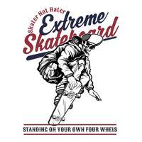 extremes Skateboard des Schädels, Vektorhandzeichnung, Hemdentwürfe, Radfahrer, Diskjockey, Herr, Friseur und viele andere. lokalisiert und einfach zu redigieren. Vektorabbildung - Vektor
