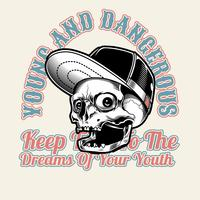 skallehattlock, ung och farlig .vector handritning, skjortedesigner, biker, diskjockey, gentleman, frisör och många andra.oliverad och enkel att redigera. Vektor illustration - vektor