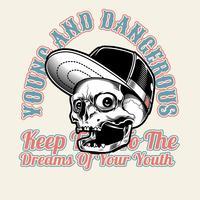 Tragende Kappe des Schädels, jung und gefährlich, Vektorhandzeichnung, Hemdentwürfe, Radfahrer, Diskjockey, Herr, Friseur und viele andere. Lokalisiert und einfach zu redigieren. Vektorabbildung - Vektor