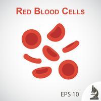 Flaches Design der roten Blutkörperchen auf Vignettenhintergrund