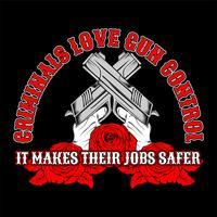 cross gun, Verbrecher lieben Waffenkontrolle. .vector Handzeichnung, Shirt Designs, Biker, Disk Jockey, Gentleman, Friseur und viele andere .isoliert und leicht zu bearbeiten. Vektorabbildung - Vektor