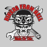 Schädel-Biker aus der Hölle, .vector Handzeichnung, Shirt-Designs, Biker, Diskjockey, Gentleman, Friseur und viele andere. Isoliert und einfach zu bearbeiten. Vektorabbildung - Vektor