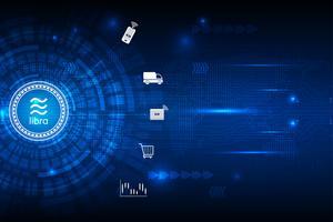 Digitale Währung der Waage cryptocurrency mit Stromkreiszusammenfassungs-Vektorhintergrund für Technologiegeschäft und on-line-Marketing-Konzept
