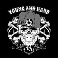 Schädel junge strapazierfähige Kappe. .vector Handzeichnung, Shirt Designs, Biker, Disk Jockey, Gentleman, Friseur und viele andere .isoliert und leicht zu bearbeiten. Vektorabbildung - Vektor