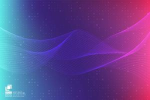 Modernes Design des purpurroten Partikellinie Wellenzusammenfassungshintergrundes mit Kopienraum, Vektorillustration für Ihr Geschäft und Web-Fahnendesign.