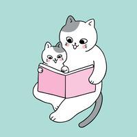 Tecknad söt pappa och baby katt läser bok vektor.