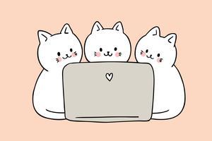 Nette Katzen der Karikatur, die Computervektor spielen.