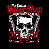 Der Vintage Friseurladen, Totenkopf und Kamm. Vektor Handzeichnung, Shirt Designs, Biker, Disk Jockey, Gentleman, Friseur und viele andere. Isoliert und einfach zu bearbeiten. Vektorabbildung - Vektor