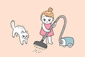 Reinigungsvektor des netten Mädchens und der Katze der Karikatur.