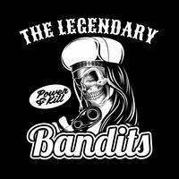 legendärer Bandit des Schädels, der Gewehr hält Vektorhandzeichnung, Hemddesigne, Radfahrer, Diskjockey, Herr, Friseur und viele andere. Lokalisiert und einfach zu redigieren. Vektorabbildung - Vektor
