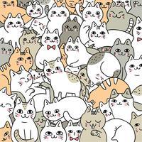 Tecknad gullig doodle katter vektor.
