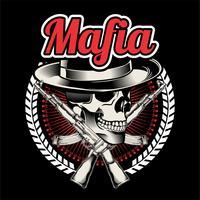 Mafia chef med två korsade pistoler. Symbol för våld och brottsbegrepp. Plattformig grafik.handteckning, - Vektor