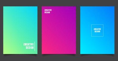Set med abstrakt mönster bakgrund med linjer gradient konsistens. Minimal dynamisk omslagsdesign. blått, grön affischmall.