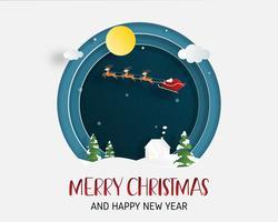 Grußkarte der frohen Weihnachten und des guten Rutsch ins Neue Jahr im Papierschnittstil. Vektor-Illustration Weihnachtsfeier Hintergrund mit Santa Claus und Rentier. Banner, Flyer, Poster, Wallpaper, Vorlage.