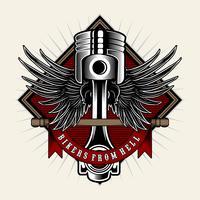 Biker power.Piston med vingar på ljus bakgrund. Designelement för logotyp, etikett, emblem, skylt, emblem, t-shirt, affisch. Vektor illustration