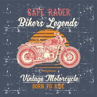 grunge stil vintage motorcykel cafe racer handritning vektor