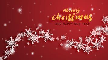 Grußkarte der frohen Weihnachten und des guten Rutsch ins Neue Jahr im Papierschnitt-Arthintergrund. Vector Illustration Weihnachtsfeierschneeflocken auf rotem Hintergrund für Fahne, Flieger, Plakat, Tapete, Schablone.