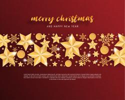 Grußkarte der frohen Weihnachten und des guten Rutsch ins Neue Jahr im Papierschnitt-Arthintergrund. Vector Illustration Weihnachtsfeierstern, Schneeflocke, Dekoration auf Rot. banner, flyer, poster, hintergrundbild, vorlage.