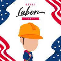 Illustration av Labor Day med arbetare som bär gul hjälm