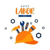 Illustration av arbetsdagen med en gul hjälm och byggverktyg