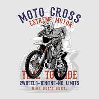 Grunge-Stil Schädel Motor Kreuz Handzeichnung Vektor