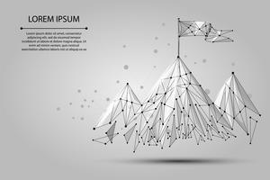 Låg poly wireframe Flagga på toppen av berget. Framgång i affärer, topp eller målsymbol