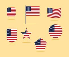 American Flag Icon Set Vektor Illustration