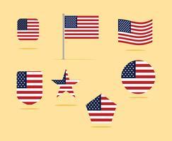 Gesetzte Vektor-Illustration der amerikanischen Flagge Ikonen