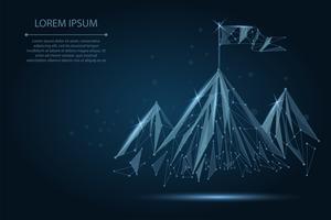 Low Poly Drahtmodell Flagge auf dem Gipfel des Berges. Erfolg im Geschäft, in der Spitze oder im Zielsymbol
