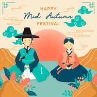 Mitten höstfestival med par bär koreansk hanbok. Chuseok Festival. Koreanska Thanksgiving Day, kinesiska molnet, blomsterarrangemang. Kinesiska Moon Cakes. Vektor - Illustration