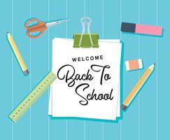 Willkommen zurück zu Schulkonzept-Hintergrund-Vektor-flachem Design
