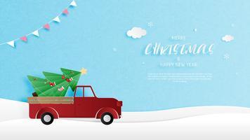 Grußkarte der frohen Weihnachten und des guten Rutsch ins Neue Jahr im Papierschnittstil. Vektor-Illustration Weihnachtsfeier Hintergrund. Banner, Flyer, Poster, Wallpaper, Vorlage.