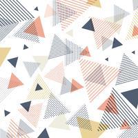 Abstraktes modernes blaues, orange, gelbes Dreieckmuster mit Linien diagonal auf weißem Hintergrund.