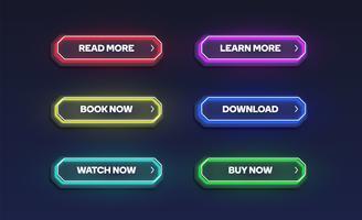 Färgglatt lysande neon knappsats, vektor illustration