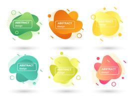 Set av abstrakta flytande former moderna grafiska element. Vätskedesignformer och linje. Gradient abstrakta banderoller. Mall för design av en logotyp, flygblad eller presentation. Vektor illustration.