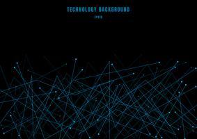 Abstrakte futuristische Molekülstrukturlinie kybernetische Partikel der blauen Farbe auf schwarzem Hintergrund. Verbindungspunkte und Linien Technologie Stil. vektor