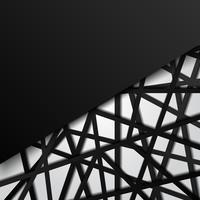 Abstrakte Schablonenschwarzlinien futuristischer überschneidender weißer Hintergrund. Digitaler Anschluss.