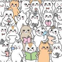 Tecknad gullig doodle livsstil katter vektor.