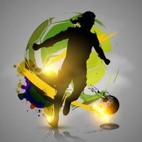 Schattenbildfußballspieler-Tinte spritzt