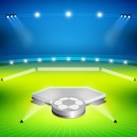 Fußballstadion mit Siegerstand vektor