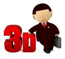 Glad affärsman med ett 3D-tecken