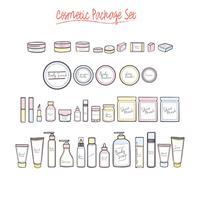 Olika kosmetiska skönhetsflaskor vektor