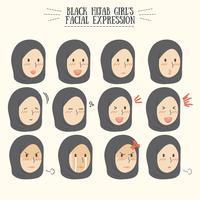 Gullig Kawaii Black Hijab Girl med olika ansiktsuttryckssats vektor
