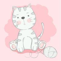 söt baby katt med tecknade handgjorda style.vector illustration