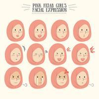 Gullig Kawaii Rosa Hijab Girl Facial Expression Set vektor