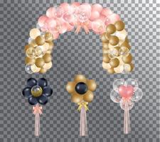 tecknade handgjorda rosa och guldballong vektor