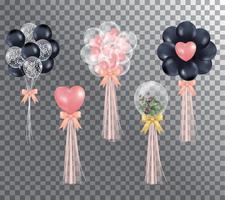 Cartoon hand gezeichneten rosa und schwarzen Ballon