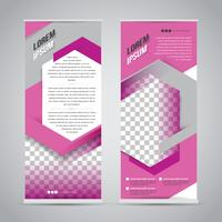 Pink roll up banner stand design mall vektor